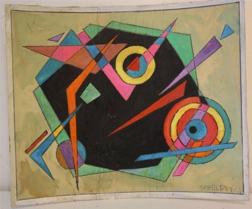 SIGNED C1940's ORIGINAL ABSTRACT GOUACHE ON PAPER BY ROLPH SCARLETT NoReserve