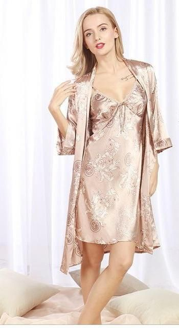 014f363ef852 This 2-piece Satin feel Robe with matching nightgown is down right  comfortable and looks great too. Available in 5 different colors. My  favorite is the red