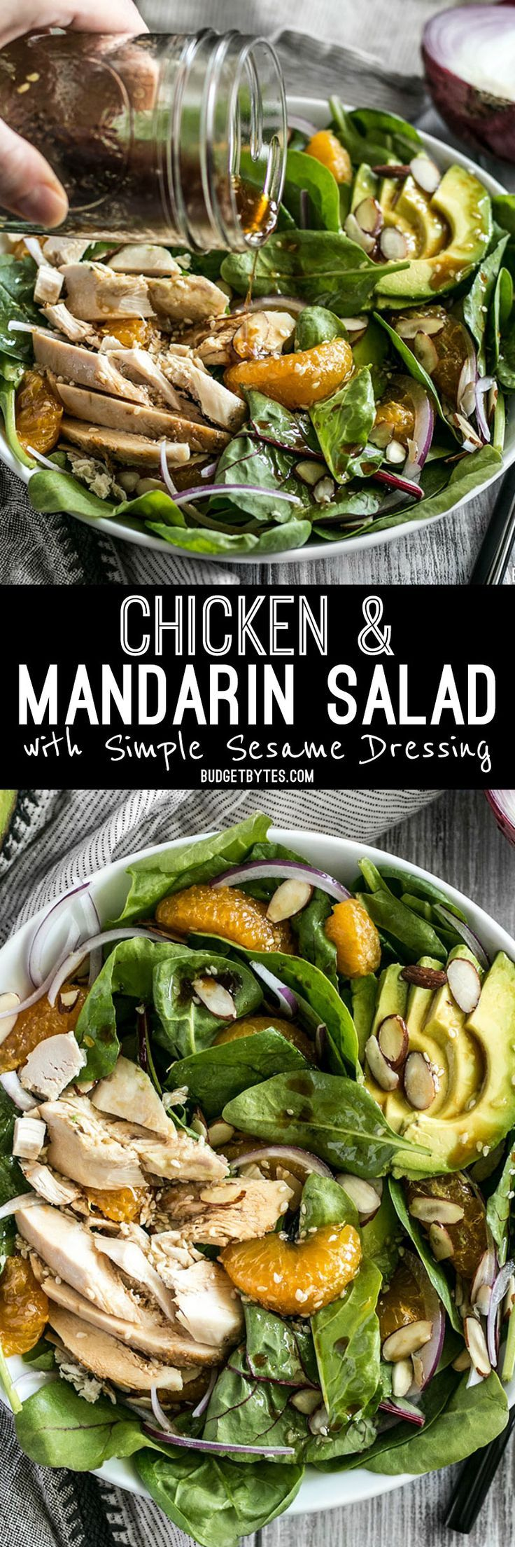 This meal-worthy Chicken and Mandarin Salad boasts sweet mandarin oranges, creamy avocado, crunchy almonds, and homemade sesame dressing.