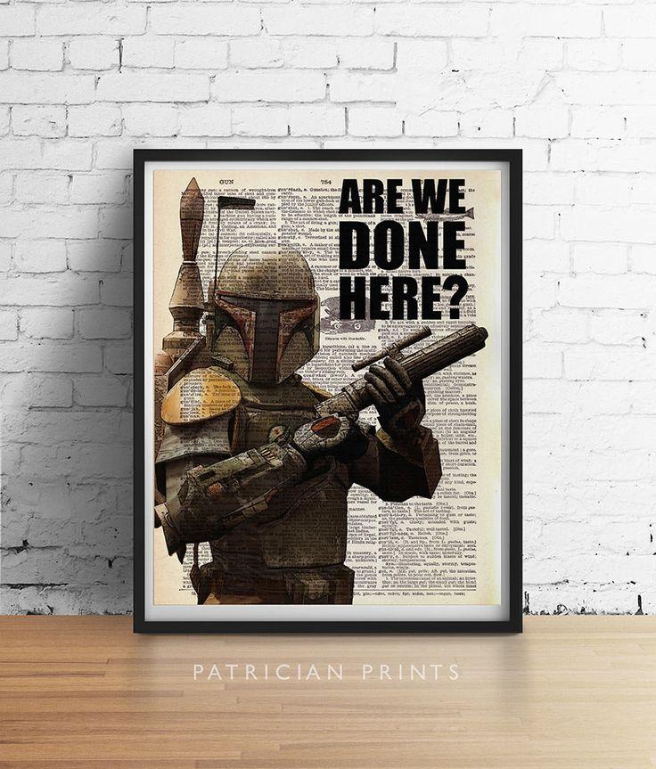 BOBA FETT Art Print Star Wars Quote Boba Fett by PatricianPrints