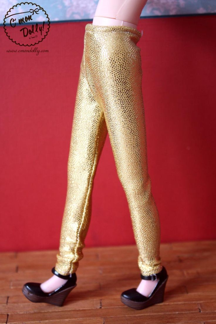 Blythe Momoko Licca Pullip Dal Wataru metallic Leggins Tights GOLD by cmondolly on Etsy