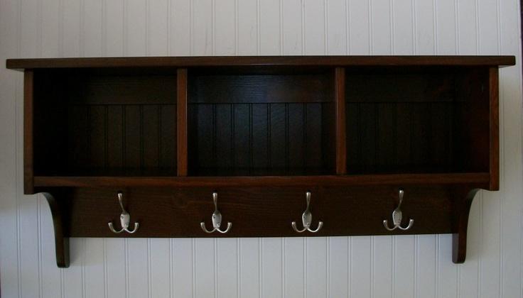 Wall Cubby Shelf Coat Rack Black Cherry Color Choice 159