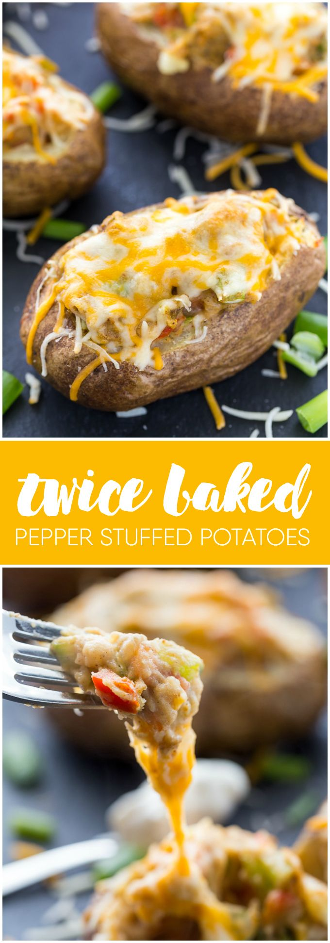 Twice Baked Pepper Stuffed Potatoes - Spicy, creamy and loaded with delicious flavour. Serve as a side dish with steak or grilled chicken for a hearty meal.