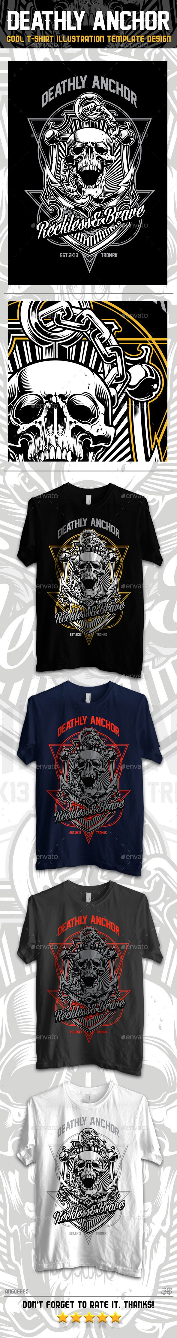 Black t shirt vector ai - Deathly Anchor T Shirt Vector Illustration Design Download Http Graphicriver
