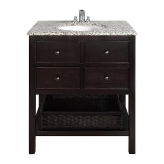 New Haven Espresso Brown 30-inch Bath Vanity with 2 Drawers and Dappled Grey Granite Top | Overstock.com Shopping - Great Deals on WyndenHal...