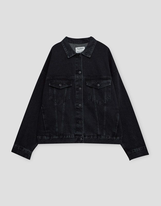Black Denim Jacket  - Pull & Bear - https://www.pullandbear.com/gb/woman/clothing/coats-and-jackets/denim-jacket-with-drop-shoulders-c1030009518p500096510.html#800