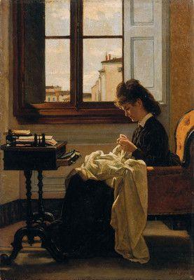 Woman Sitting by a Window Sewing by Silvestro Lega, 1872