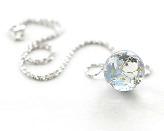 Forget-me-not Flowers Unique Necklace - blue Resin ball 925 Sterling silver chain - Myosotis sylvatica on Etsy, $43.00