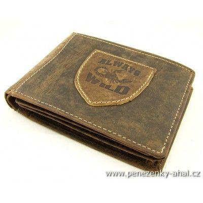 Pánská peněženka kožená zdobená prošíváním