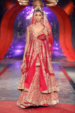 Red Ghagra Choli With Golden Embroidery