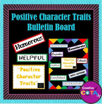 Use these materials to make your own positive character traits bulletin board. Included are 20 positive character traits to compliment or use in character development or discussions. Materials can work with Growth Mindset ™ thinking and the Every Moment Counts initiative.