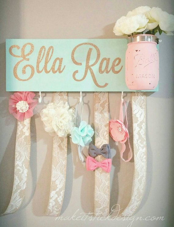 Headband Bow Holder Custom Name Board Baby Girl