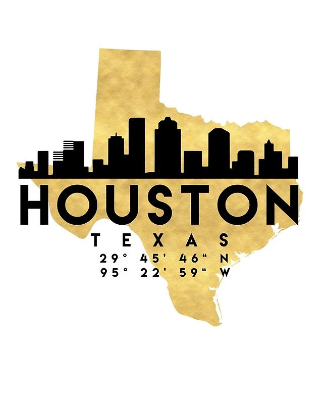 HOUSTON TEXAS SILHOUETTE SKYLINE MAP ART -  The beautiful silhouette skyline of Houston and the great map of Texas in gold, with the exact coordinates of Houston make up this amazing art piece. A great gift for anybody that has love for this city.  houston texas downtown silhouette skyline map coordinates souvenir gold