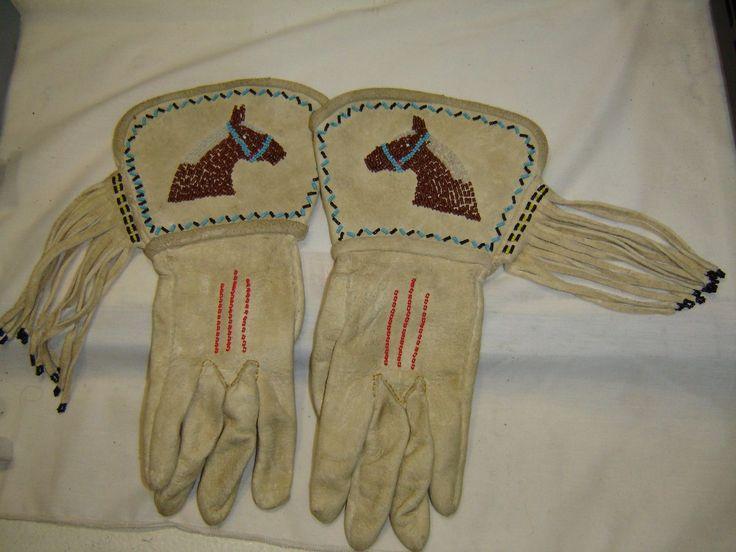 VINTAGE BEADED NATIVE AMERICAN INDIAN WESTERN LEATHER GAUNTLET GLOVES | eBay