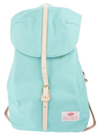 "Turquoise cotton 'large napsac' from Bag ""N"" Noun made in Japan. USD273.00. via FARFETCH from Henrik Vibskov Boutique, Copenhagen, Denmark."