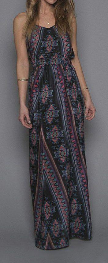 Black & Red Aztec Maxi Dress