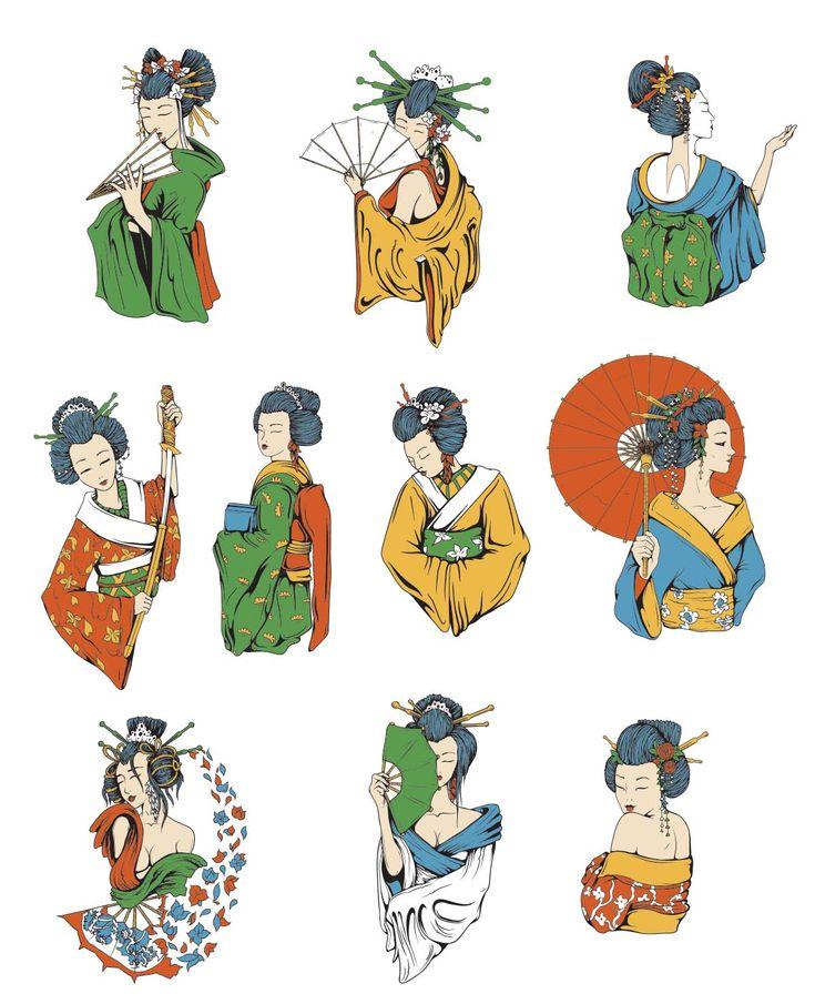 Japanese elements geisha symbols set vector