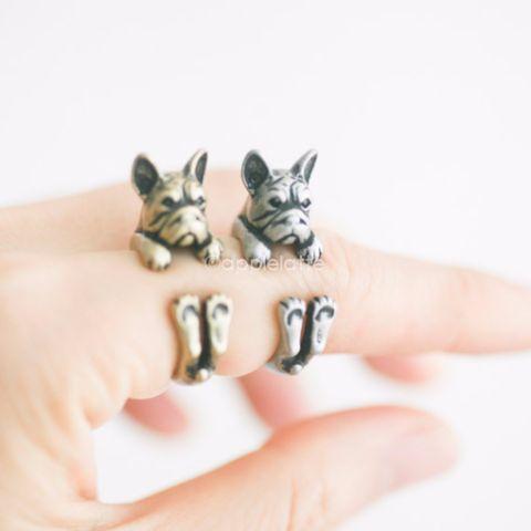 french bulldog ring, bulldog ring, dog ring size 5 ~ 9 us