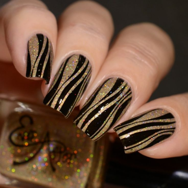 Ever After Polish Razzle Dazzle Them Road To Polish Con Week 1 stamping nail art black and gold