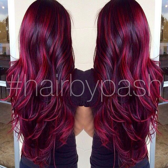 Best 25 dark red purple hair ideas on pinterest violet red hair beautiful deep red color with burgundy highlights pmusecretfo Images