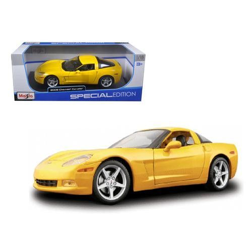 2005 Chevrolet Corvette C6 Coupe Yellow 1/18 Diecast Model Car by Maisto