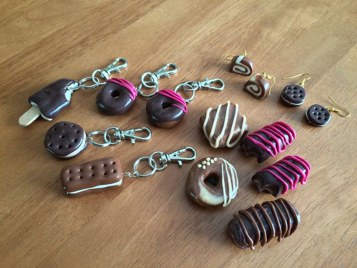 Fimo magnets, key fobs and earrings made by K