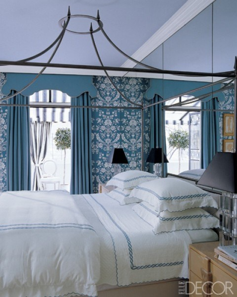 Miles Redd... canopy bed + turquoise + #cornice board