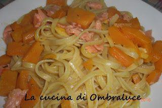 La cucina di Ombraluce: Linguine con zucca e trota affumicata