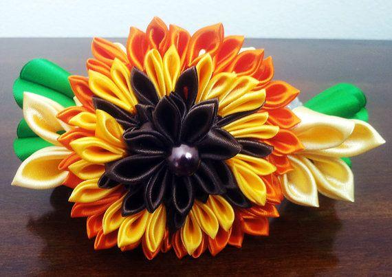 On Sale Floral Kanzashi Headband by Nemchinmarina on Etsy