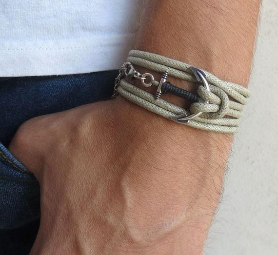 Bracelet homme - bracelet en tissu beige avec argent plaqué ancrage - bijoux pour hommes