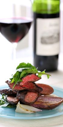 Our chef's Skirt Steak with Dry Rub, Fingerling Potatoes and Arugula Salad recipe