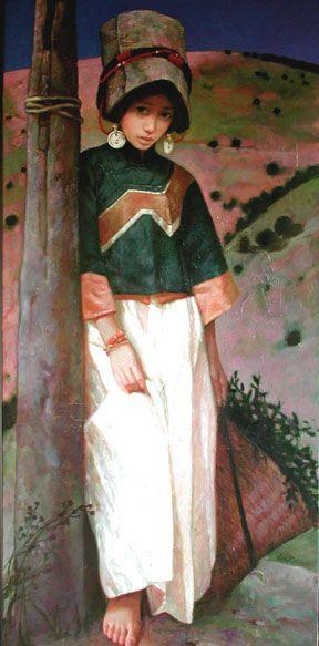 Xue Mo, girl standing. (b1966 In Inner Mongolia, China; based In Canada) #figurative #portrait #art