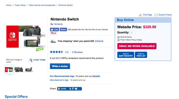 Toys R Us Canada Briefly Listed Nintendo Switch With CAD$329.99 Price