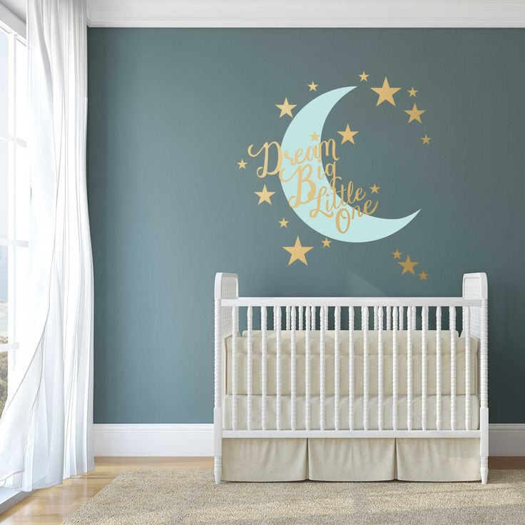 Stars And Moon Nursery Wall Decal Dream Big Little One   Nursery Wall Decal  Quote With Part 57