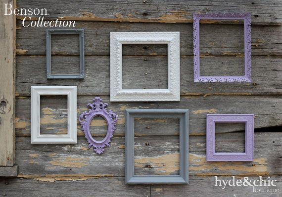 Baby Girl Nursery / Purple Picture Frames / Shabby Chic Decor / Big Girl's Room / Distressed Picture Frame Set / Benson Collection on Etsy, $60.00