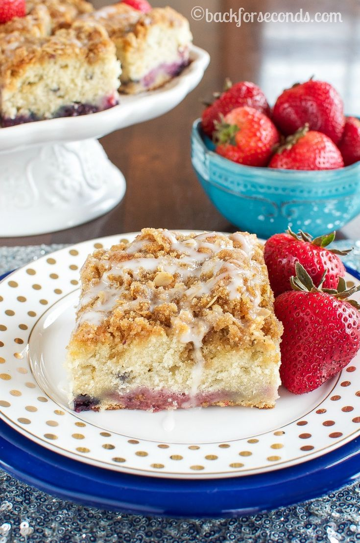 Triple Berry Coffee Cake with Brown Sugar Streusel and Almond Glaze - Holy Amazing!!!!