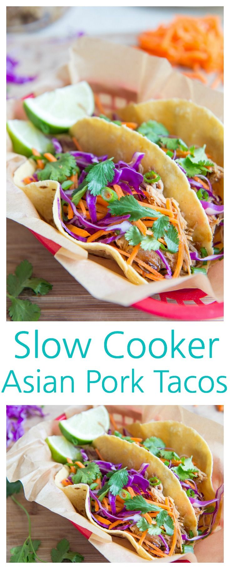 These Slow Cooker Asian Pork Tacos are fantastic for weeknight dinners. The pork only needs five minutes of prep before cooking low and slow in the crockpot, then the meat is shredded for taco time! from @fifteenspatulas