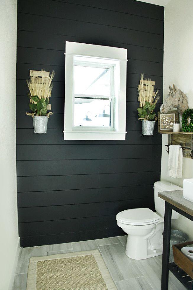 Ikea hack- DIY bathroom sink stand. Rustic modern sink base. Open stand with farmsink. Modern rustic bathroom. Black shiplap.