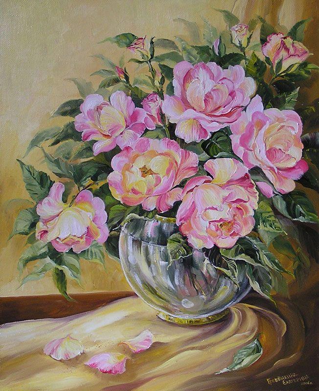 Картины - Цветы - Чайные розы (Холст, масло)