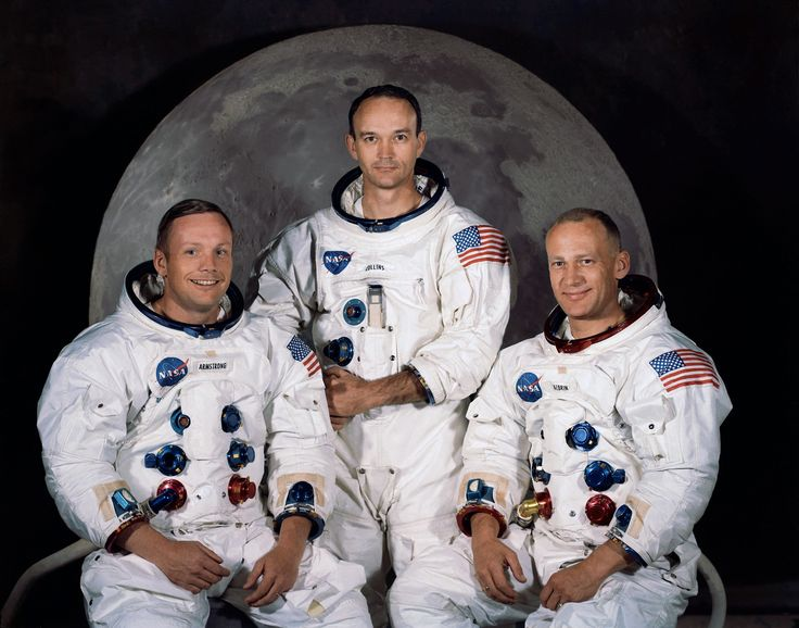 """The Apollo 11 crew, from left: Commander Neil A. Armstrong, Command Module Pilot Michael Collins, and Lunar Module Pilot Edwin E. """"Buzz"""" Aldrin Jr. On July 20th 1969 at 4:18 PM"""