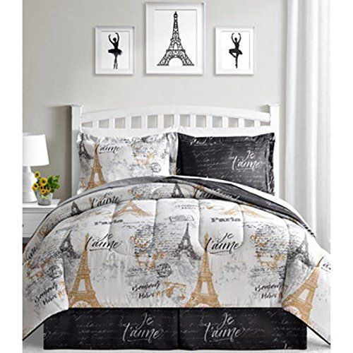 Bonjour Paris Eiffel Tower Black White Gold Reversible Twin