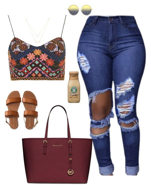 """""""Untitled #264"""" by cierrahenry01 ❤ liked on Polyvore featuring Topshop, Aéropostale, Matthew Williamson, MICHAEL Michael Kors and Forever 21"""