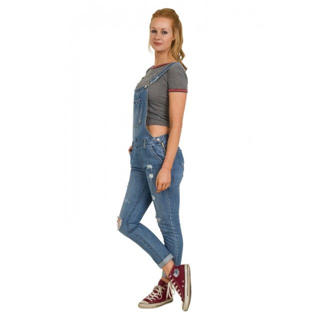 Womens Dungarees - Distressed Denim #Overalls #festivalfashion