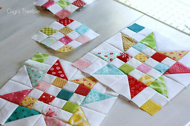 "Tutorial to make scrappy stars - must make!!!!!  Cutting (per block)  (12) 2"" bright squares  (12) 2"" white squares  (4) 2"" x 3-1/2"" white rectangles  (4) 4-1/4"" white squares*  (4) 4-1/4"" bright squares*  * Note: Cut more than 4 for more variety!"