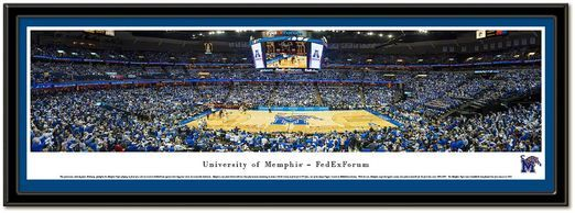 Framed Poster FedExForum, home of Memphis Tigers men's basketball matted in team color