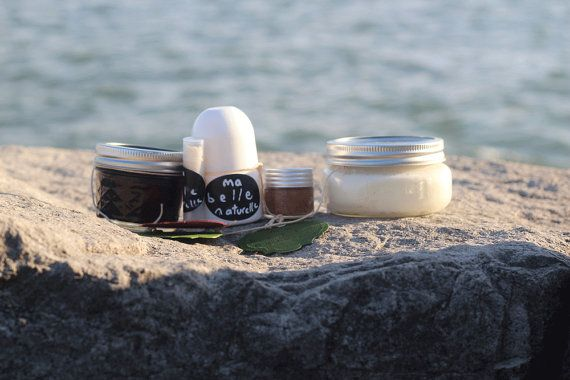 Complete Set - 5 pieces of handmade, all-natural personal care products.  Body scrub, lip balm, deodorant, lip scrub, whipped body butter