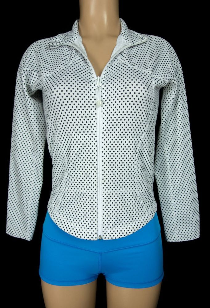 LULULEMON Forme Jacket Size 6 S Small Black White Polka Dot Run #Lululemon #CoatsJackets