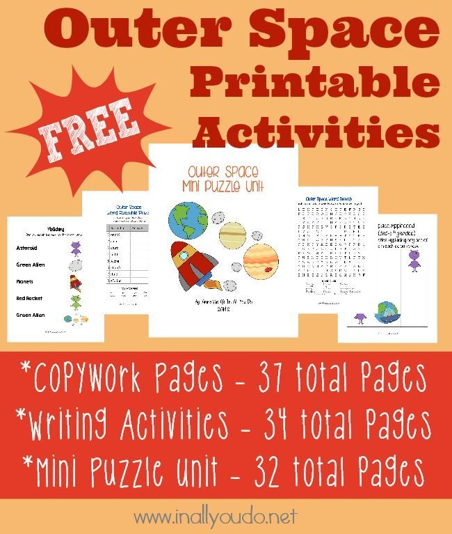 Outer Space Printables {freebies} - In All You Do *37 total pages of Copywork (preschool, early manuscript, manuscript & cursive) *34 total pages of Writing Activities (writing prompts & Draw-then-write prompts) *32 total pages in the Mini Puzzle Unit