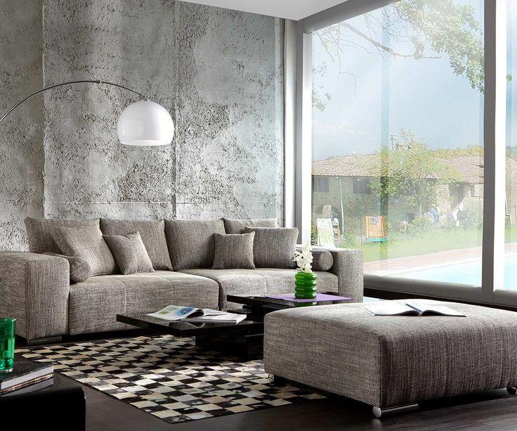 Trend DELIFE Big Sofa Marbeya x Hellgrau Couch mit Hocker Wohnlandschaften