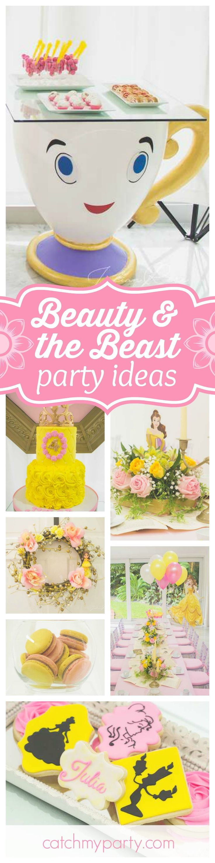 Prepare to be enchanted by this gorgeous Beauty & the Beast birthday party. The dessert table is amazing!! See more party ideas and share yours at CatchMyParty.com